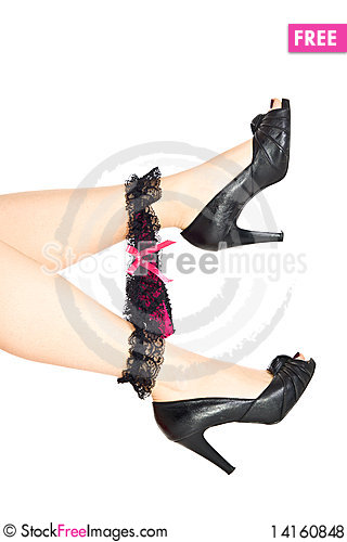 Free Woman Legs In Eels With Lace Underwear Royalty Free Stock Photos - 14160848