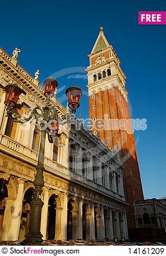 Free Campanile And Lamp, Venice, Italy Royalty Free Stock Images - 14161209