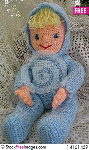 Free Crocheted Doll Wearing Blue Royalty Free Stock Images - 14161459
