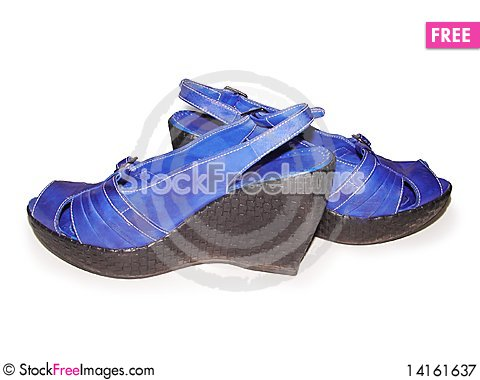 Free Woman S Blue Shoes Royalty Free Stock Photography - 14161637