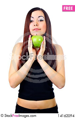 Free Girl Holding Apple Stock Images - 14162094