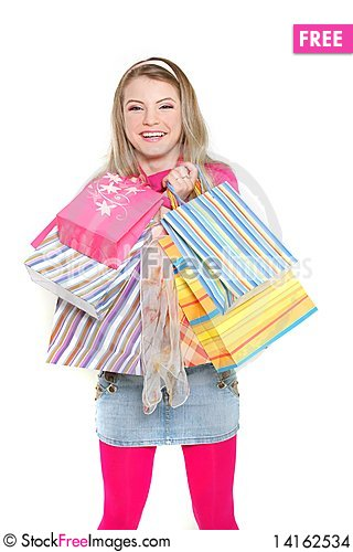 Free Young Happy Girl With Shopping Bags Stock Images - 14162534