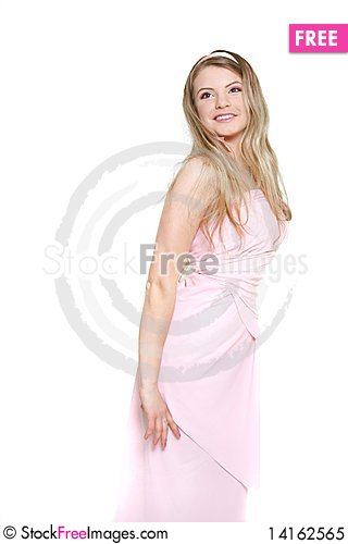 Free Young Beautiful Woman In Pink Dress Royalty Free Stock Photo - 14162565