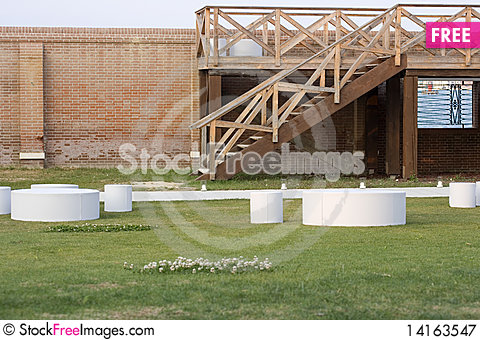 Free Tables And Stools In A Garden Royalty Free Stock Photography - 14163547