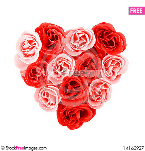 Free Heart Of Red And Pink Roses Royalty Free Stock Photography - 14163927