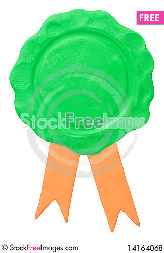 Free Empty Seal With Ribbons. Clipping Path Royalty Free Stock Photos - 14164068