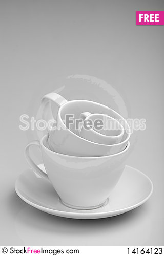 Free Cups On White Tablecloth Stock Photos - 14164123