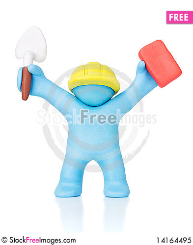 Free Happy Builder. Clipping Path Royalty Free Stock Photo - 14164495