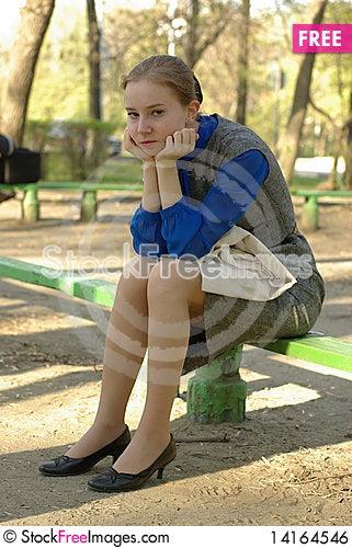 Free Sitting Girl Royalty Free Stock Image - 14164546