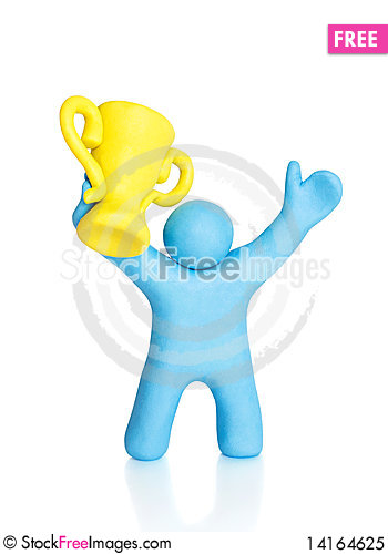 Free Happy Sportsman Winner With Golden Cup Royalty Free Stock Photo - 14164625
