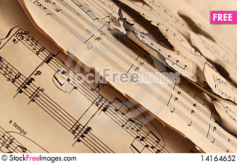 Free Vintage Burnt Music Notes Pattern Stock Photography - 14164652