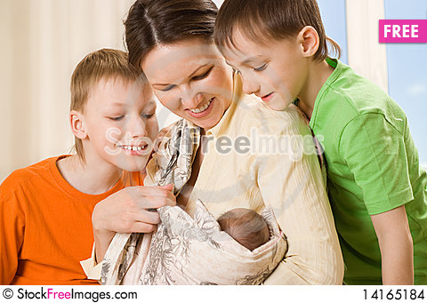 Free Mother With Her Three Children Stock Images - 14165184