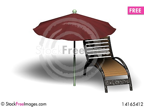 Free Beach Parasol And Deckchair Stock Photography - 14165412