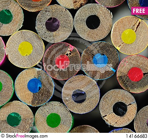 Free End View Of Color Pencils Stock Photos - 14166683