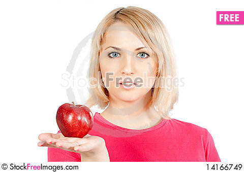 Free Woman With Apple Royalty Free Stock Images - 14166749