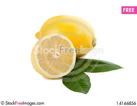 Free Lemon Full And Half With Leaves Royalty Free Stock Image - 14166856