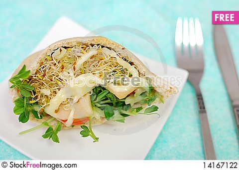 Free Top View Of Salad Sandwich Stock Photography - 14167122