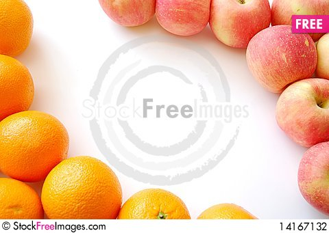 Free Oranges And Apples Forming A Fruit Frame Stock Photography - 14167132