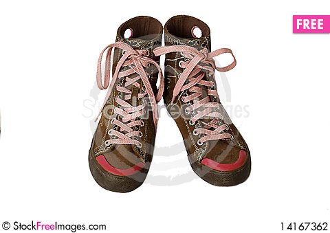 Free Laced Leather Boots Stock Photography - 14167362