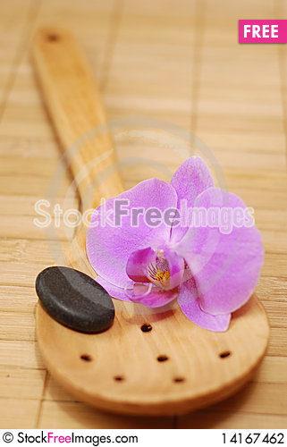 Free Spoon With The Stone And The Orchid Stock Photography - 14167462