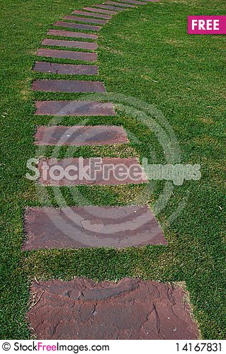 Free Tilled Footpath On The Green Lawn. Stock Image - 14167831
