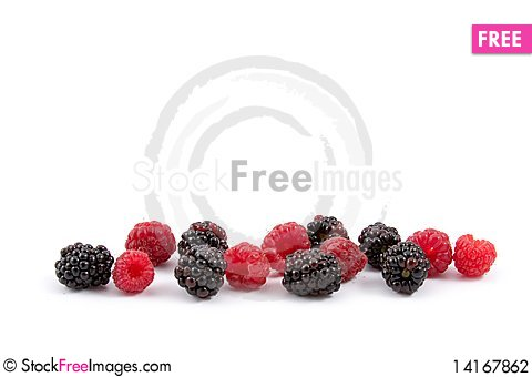 Free Berries: Raspberries And Blackberries Stock Photography - 14167862