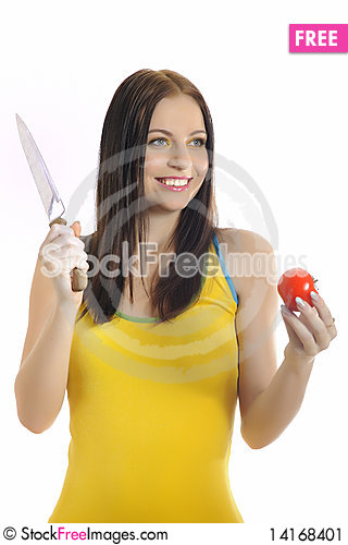 Free Young Pretty Woman With Red Tomato And A Knife Stock Image - 14168401