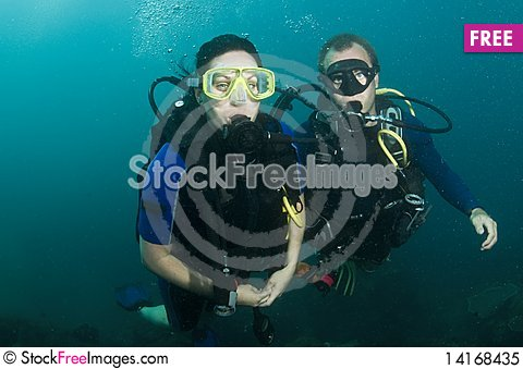 Free Two Scuba Divers On A Dive Royalty Free Stock Photo - 14168435