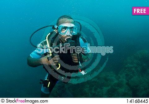 Free Male Scuba Diver Royalty Free Stock Photo - 14168445