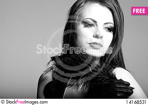 Free B/w Portrait Of Sexy Fashion Woman Stock Image - 14168531