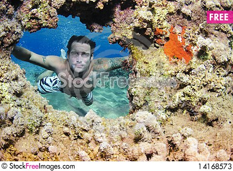 Free Man Underwater Looking At Coral Stock Photos - 14168573