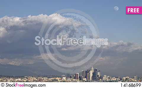 Free Stormy Sky And Wolfmoon Over Downtown Los Angeles Royalty Free Stock Images - 14168699