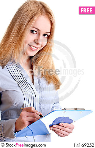 Free Business Woman In A Suit With Clipboard Stock Photography - 14169252