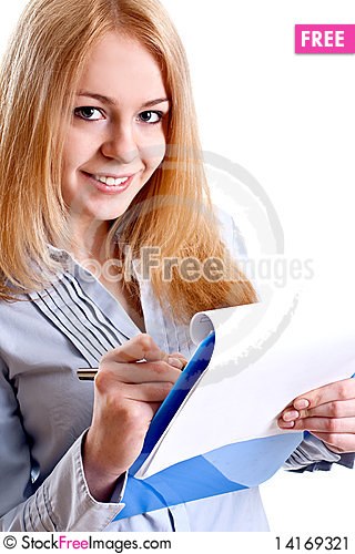 Free Business Woman In A Suit With Clipboard Stock Image - 14169321