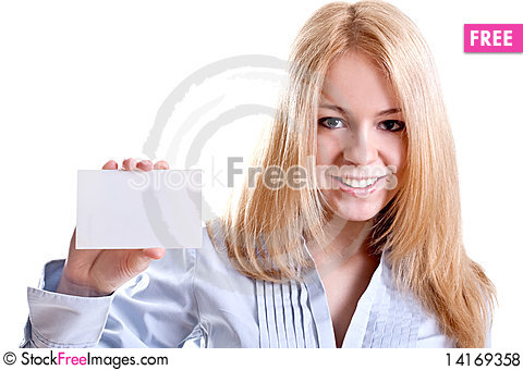 Free Young Business Woman With Business Card Royalty Free Stock Photos - 14169358