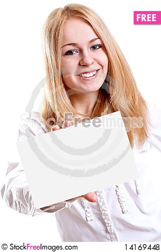 Free Young Business Woman With Business Card Royalty Free Stock Photos - 14169448