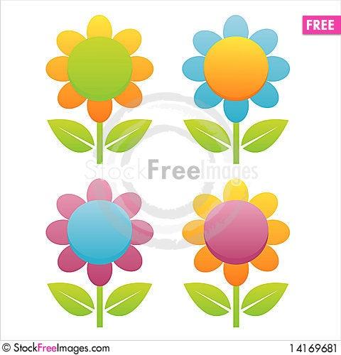 Free Set Of 4 Flowers Stock Image - 14169681