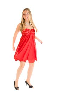 Blond Woman In Red Dress Royalty Free Stock Photo