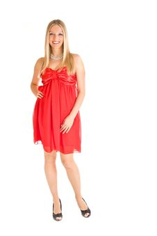 Blond Woman In Red Dress Royalty Free Stock Photography