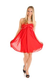 Blond Woman In Red Dress Stock Images