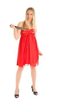 Blond Woman In Red Dress Stock Image