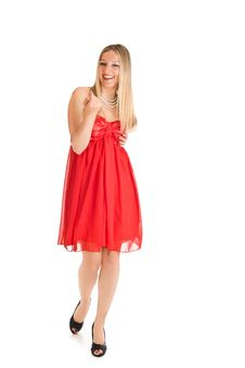 Isolated Caucasian Blond Woman In Red Dress Stock Images