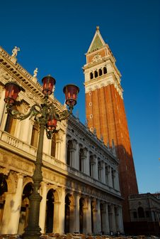 Campanile And Lamp, Venice, Italy Royalty Free Stock Images