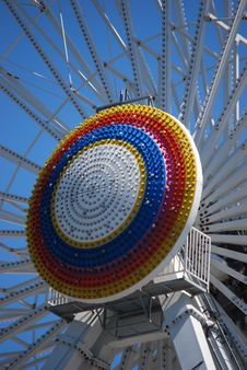 Rainbow Circle On A Ferris Wheel Ride Stock Photo