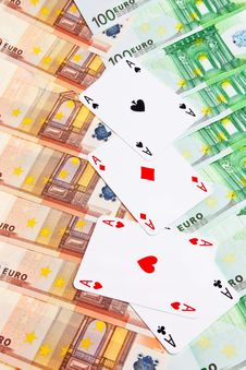 Four Aces And  Euro Banknotes. Royalty Free Stock Photography