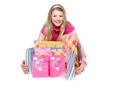 Free Young Happy Girl With Shopping Bags Royalty Free Stock Photography - 14162377