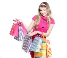 Free Young Girl With Shopping Bags Stock Photography - 14162502