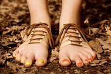 Free Barefooted Tender Woman S Feet. Shoes Concept Stock Photos - 14163973