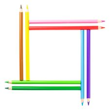 Creative Square Frame. Colorful Pencils. Isolated