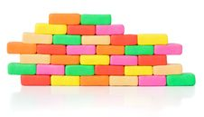 Piece Of Colorful Bricks Wall. Pattern Royalty Free Stock Photos